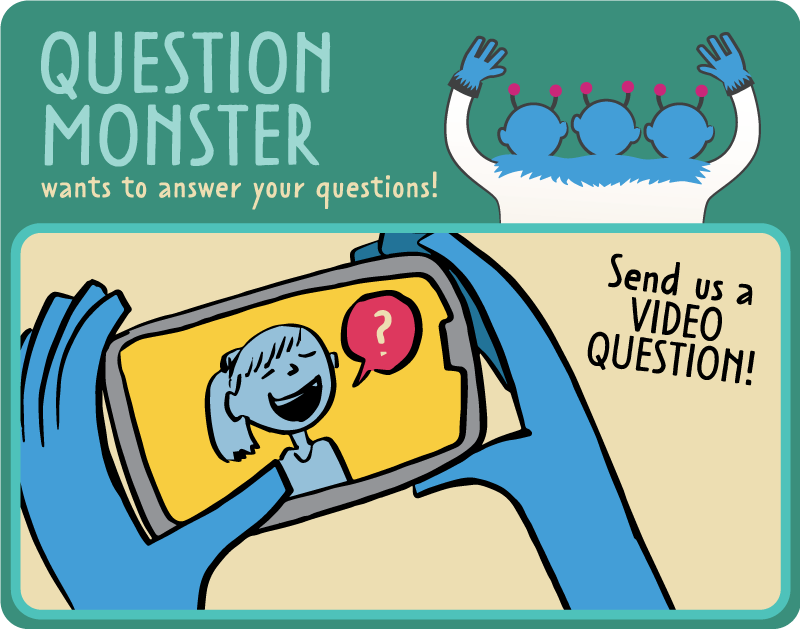 "Illustration of the three headed question monster that says ""Question Monster wants to answer your questions. Send us a video question!"""